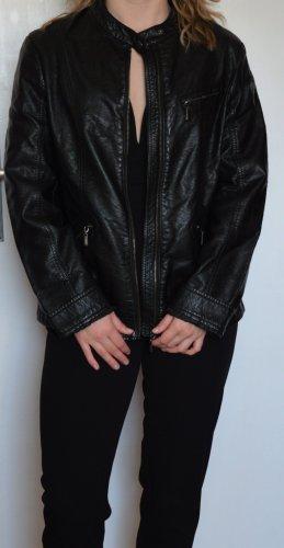 Biaggini Faux Leather Jacket black-silver-colored polyurethane