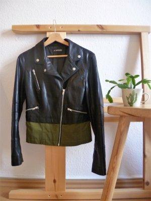 24Colours Veste en cuir synthétique noir-vert foncé faux cuir