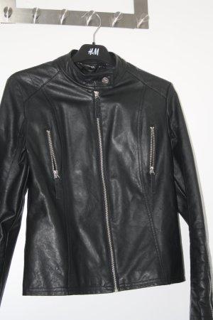 schwarze Kunstlederjacke Gr. 36