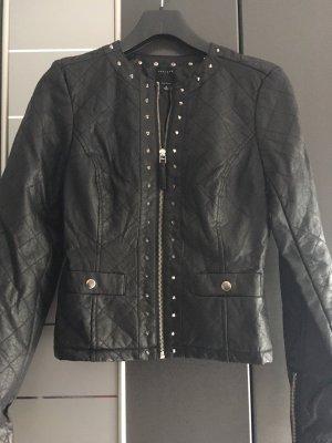 Chaqueta de cuero de imitación negro-color plata Imitación de cuero