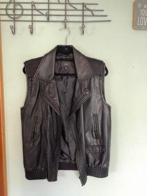 Mango Suit Skórzana kamizelka czarny