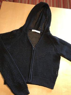 Schwarze kurze crop Jacke 90s Löcher/Netzstoff