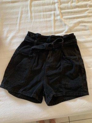 Asos Denim Pantalón corto de talle alto negro