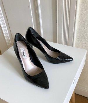 Schwarze Lack-High Heels in Schlangenoptik Größe 37