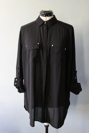 Schwarze Langarm Bluse