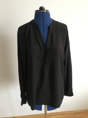 schwarze Langarm-Bluse | Größe M