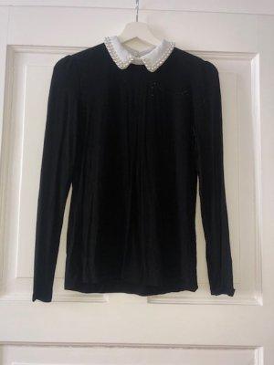 Schwarze Langarm-Bluse mit Perlen von Hallhuber, Gr. S