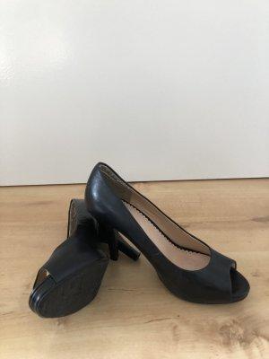 Schwarze Leder Absatzschuhe
