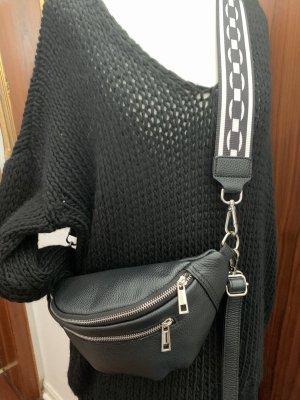 Schwarze Leder Bauchtasche Umhängetasche mit 2 Riemen