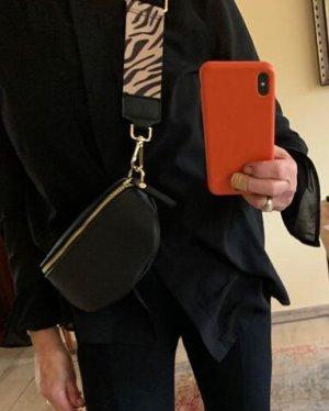 Schwarze Leder Bauchtasche Umhängetasche mit 2 Riemen neu