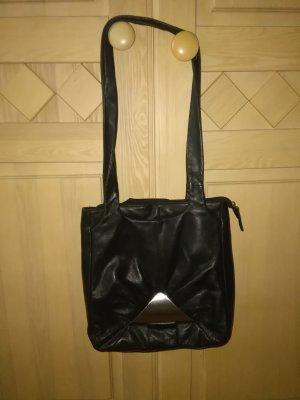 schwarze Leder Handtasche