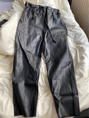 Zara Knit Pantalone in pelle nero