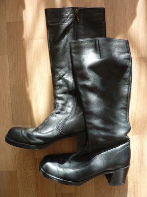 schwarze Leder Stiefel, Salamander gefüttert, Winterstiefel, Biker Boots