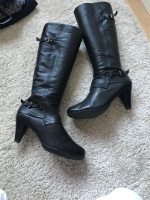 Schwarze Leder Stiefel von Tamaris / Größe 39