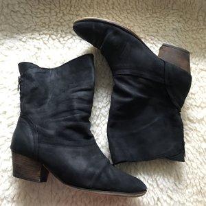 Schwarze Leder Stiefeletten