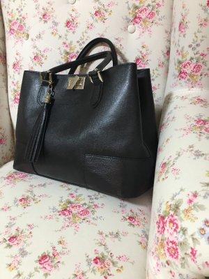 Schwarze Leder Tasche made in Italy große Henkeltasche Businesstasche