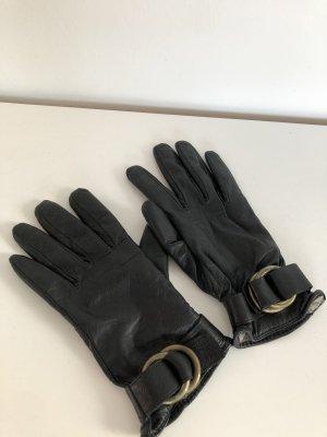 Mango Leather Gloves black leather