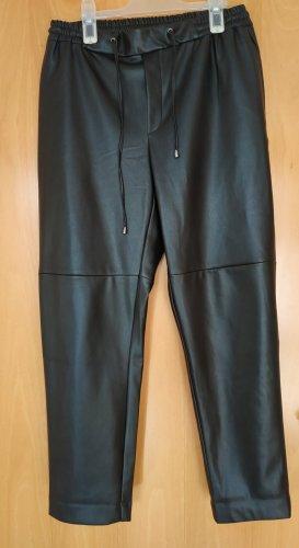 Mango Skórzane spodnie czarny