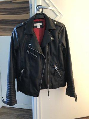 schwarze Lederjacke von H&M