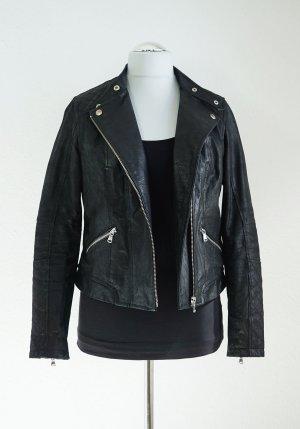Schwarze Lederjacke von New Look