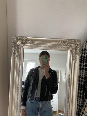 Schwarze Lederjacke von Vero Moda, Größe M