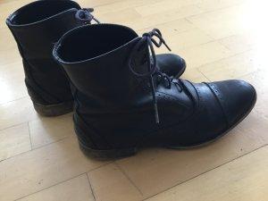 Zara Bottes à lacets noir cuir