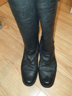 Schwarze Lederstiefel Größe 37