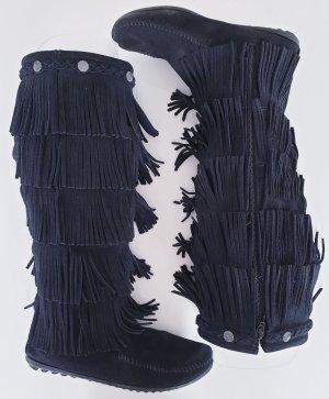 Schwarze Lederstiefel Minnetonka