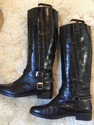 Zara Botas de equitación negro-color plata Cuero