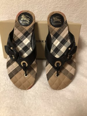 Burberry Toe-Post sandals black-gold-colored