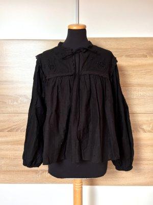 Schwarze Lochmuster Stickerei Bluse von Mango, Gr. M (NEU)