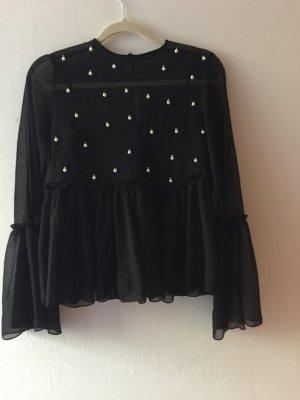 Schwarze Mesh Bluse mit Perlen von Asos in Gr.36