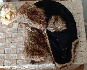 Chapeau d'aviateur noir-brun