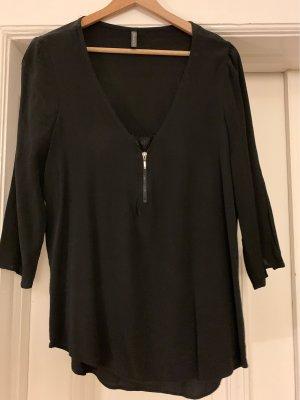 Schwarze NafNaf Bluse mit spitze und Reisverschluss