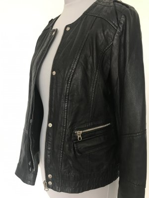 Marc O'Polo Veste en cuir noir-argenté cuir