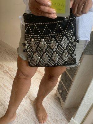 Schwarze Nieten Leder Handtasche