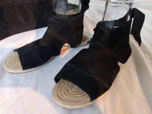 Romeinse sandalen zwart-lichtbruin Suede
