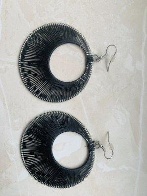 Pendientes colgante negro-color plata