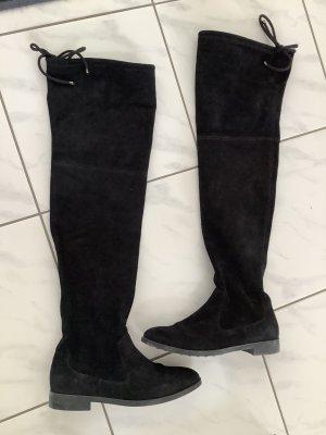Buty nad kolano czarny Tkanina z mieszanych włókien