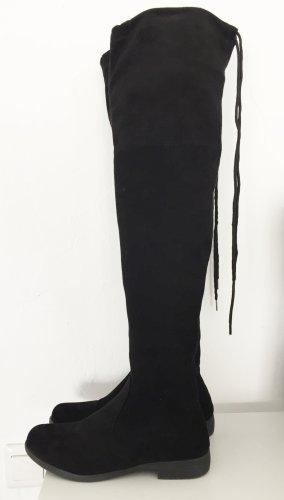 Schwarze Overknee Stiefel in Wild-leder-Optik