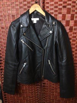 Schwarze Oversize Echtlederjacke H&M Größe 32