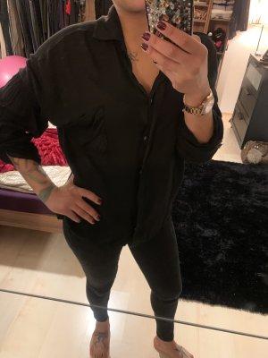 Schwarze Oversized Bluse mit Kragen (Gr. 38)