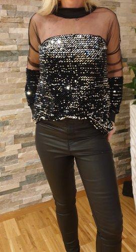 Schwarze Pailletten Bluse Gr.36