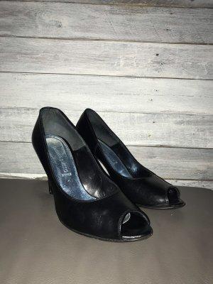 Franco Russo Peep Toe Pumps black