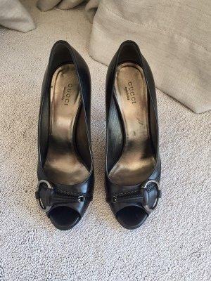 Gucci Peep Toe Pumps black leather