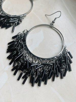 Schwarze Perlencreolen