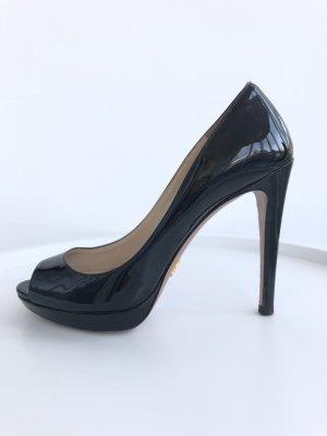 schwarze Prada Lackleder Peep Toes High Heels Gr. 37