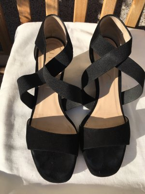 Unisa Wedge Sandals black leather