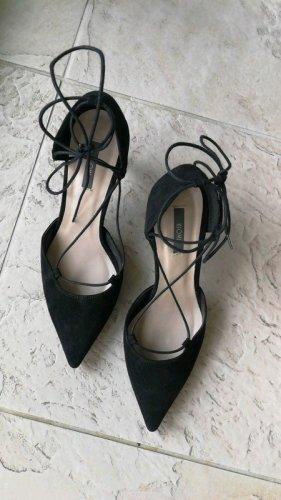 schwarze Rauleder Schnürpumps