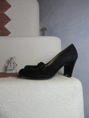 Schwarze Riemchen Pumps von Minozzi Milano - Markenschuhe aus Veloursleder - Mary Janes - Gr. 36 - Spangen Schuhe